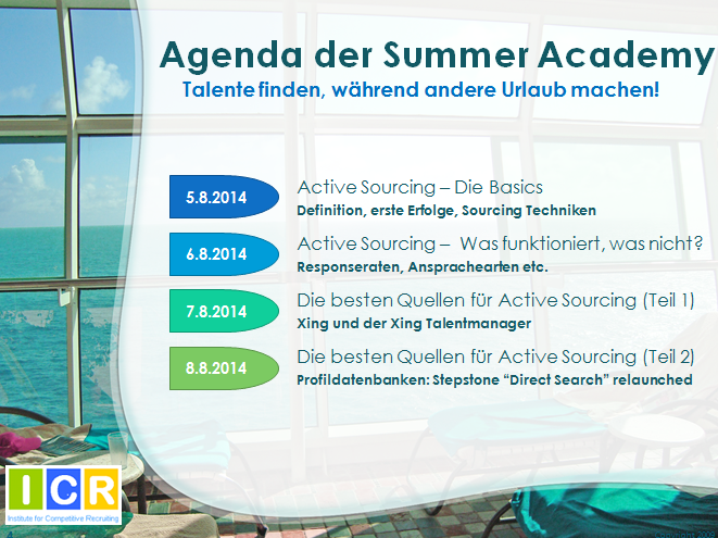 Active Sourcing Summer Academy 2014 Icr Institute For Competitive