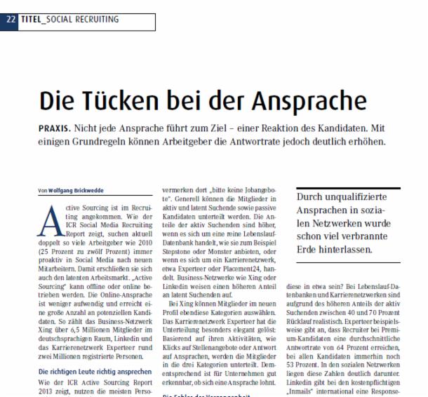 Personalmagazin 09/2013 erfolgreiche Ansprache von latenten ...